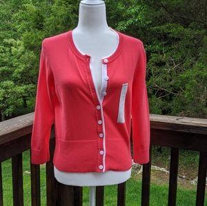 NWT Liz Claiborne Pink/white tipped cardigan